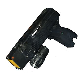 Raysun X-1, a multi-purpose handheld weapon that is not made by Axon but is often informally referred to as a Taser Raysun X-1 img 2865.jpg