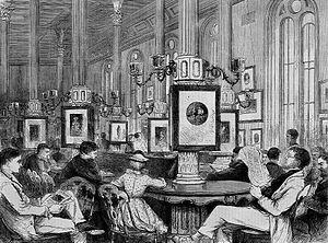 Boston Public Library - Reading Room in 1871 at the first Boylston Street building, the library's location between 1858 and 1895.