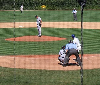 Live ball (baseball) - A ball may not become live until the pitcher is on the rubber ready to pitch and the batter, catcher, and umpire are ready--much like in this photo, taken during the August 27, 2005 Cubs-Marlins game.