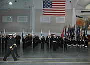 A recruit graduation at USS Midway Ceremonial Drill Hall.