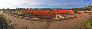 Royal Botanic Gardens, Cranbourne - Panoramic view of the Red Sand Garden, Australian Garden, Cranbourne Gardens, Victoria, Australia