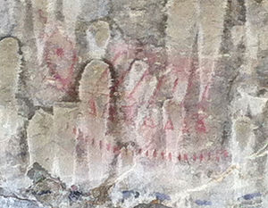 Pictograph Cave (Billings, Montana) - An example of a faded red pictograph on the site.