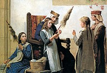 Queen Bertha Of Burgundy Instructing Girls To Spin Flax On Spindles Using Distaffs A Cottage Industry