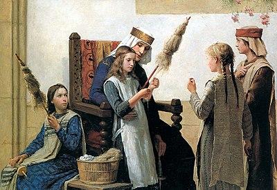 La reina Berta de Suabia instruye a unas chicas en el manejo del huso y la rueca para hilar el lino.