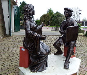 Saskia van Uylenburgh - Statues of Saskia and Rembrandt beside the windmill in Sloten near Amsterdam.