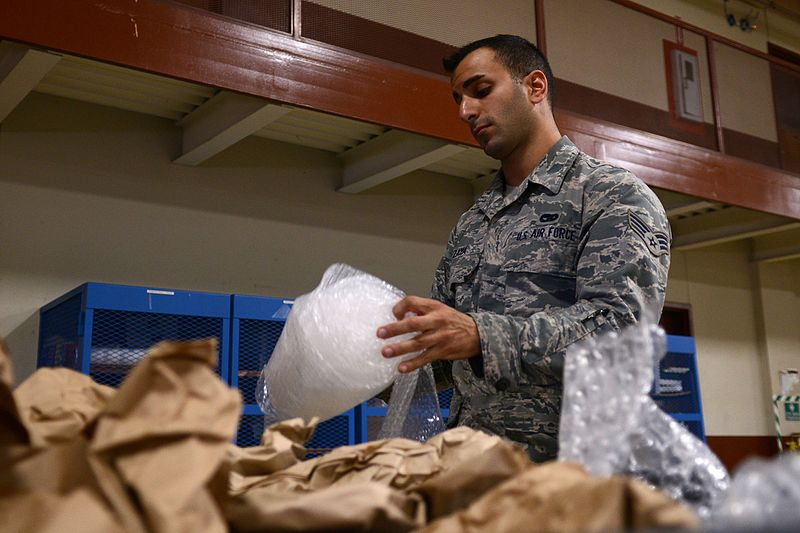 Use recycled packaging materials and containers when shipping - Image courtesy of https://upload.wikimedia.org/wikipedia/commons/thumb/7/71/Repurpose%2C_reuse%2C_recycle%2C_Langley_Airmen_keep_base_environmentally_friendly_140728-F-TN449-003.jpg/800px-Repurpose%2C_reuse%2C_recycle%2C_Langley_Airmen_keep_base_environmentally_friendly_140728-F-TN449-003.jpg