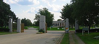 Illinois Route 171 - The main gate of Resurrection Cemetery on Archer Avenue, reputedly the home of Resurrection Mary