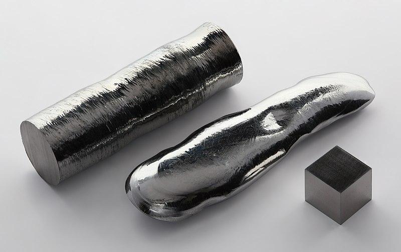 File:Rhenium single crystal bar and 1cm3 cube.jpg