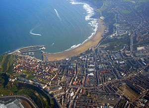 Radio 270 - An aerial view of Scarborough: South Bay, with fishing harbour to the left