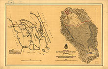 The image is in two parts. On the left, banana-shaped Roanoke Island lies between Croatan Sound to the west and Roanoke Sound to the east. Albemarle Sound to the north and Pamlico Sound to the south are not identified. A portion of Bodie Island (of the Outer Banks) is east and the mainland is west of the island. Positions of the Confederate forts and approximate positions of the Navy gunboats, Army transports, and Confederate Mosquito Fleet during the landings and naval phase of the battle are shown. On the left, a larger-scale map of the middle of the island shows the infantry and artillery dispositions where they met on 8 February 1862.