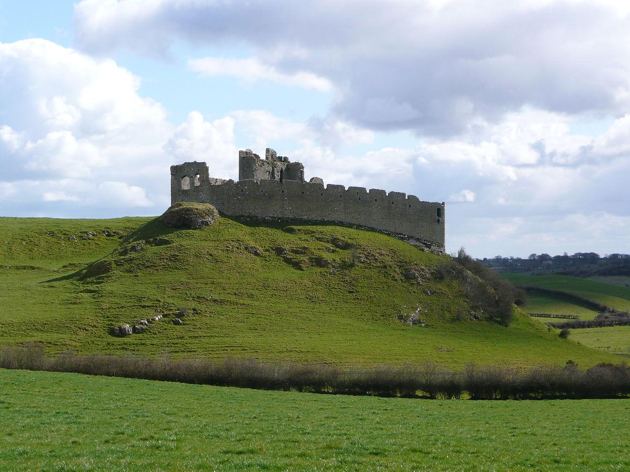 wide shot of castle roche on a hill