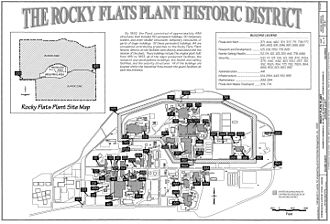 Radioactive contamination from the Rocky Flats Plant - A map of the Rocky Flats Plant prior to its decommissioning. All buildings have since been demolished from the site.