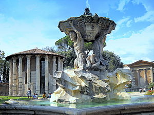 Fountain of the Tritons - The fountain and the Temples of Hercules Victor and Portunus in the background