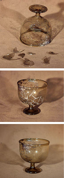 Roman Brown Glass during and after conservation - restoration.jpg