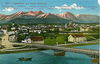 Rosenheim - Rosenheim and new Inn bridge on the postcard.