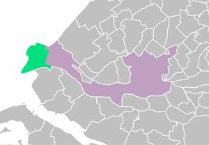 Maasvlakte - Location of the Maasvlakte (green) in the municipality of Rotterdam (purple)