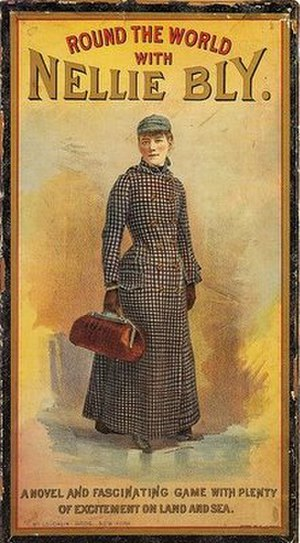 "Around the World in Seventy-Two Days - ""Round the World with Nellie Bly"" board game box"