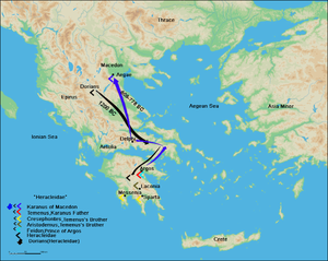 Argead dynasty - The route of the Argeads from Argos, Peloponnese, to Macedonia according to Herodotus.