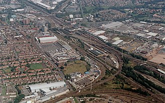 Crewe railway station - Crewe station looking NE and showing the six converging railway routes