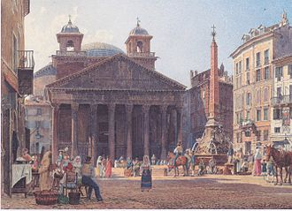 Piazza della Rotonda - The piazza with obelisk and Pantheon's bell-towers in an 1835 watercolor by Rudolf von Alt.