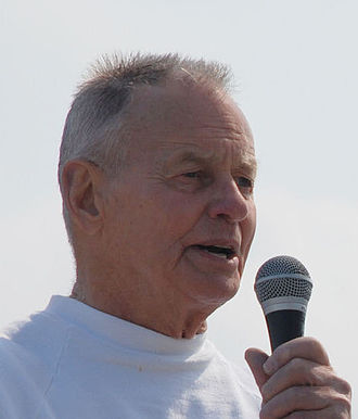 Rudy Boesch - Boesch delivers opening remarks for the third annual Rudy Run SEAL Challenge at Naval Amphibious Base Little Creek in 2007