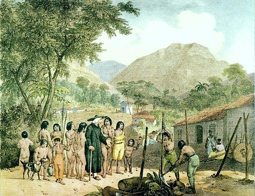 misionero en comunidad indigena amazonica, ilustracion