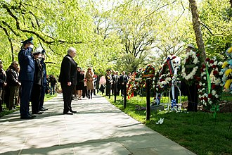 Elbe Day - At the 2015 commemoration of Elbe Day, Russian Ambassador Sergey Kislyak bows his head after laying a wreath at the Spirit of the Elbe marker in Arlington National Cemetery.
