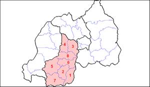 Southern Province, Rwanda - Image: Rwanda South Prov Dists