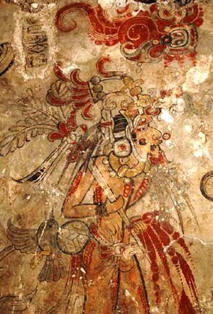 San Bartolo (Maya site) - King (impersonating the hero Hunahpu) piercing his penis with a spear to spill sacrificial blood. Fragment of west mural, San Bartolo