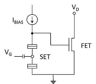 Single-electron transistor - Fig. 2. Schematic of a hybrid SET-FET circuit.