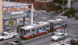 Trolleybuses in San Francisco - An ETI 15TrSF, on Van Ness Avenue at Geary Street, on route 49.