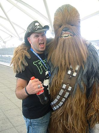 Matt Busch - Busch with a Chewbacca impersonator in Star Wars Celebration Europe on July 14, 2007