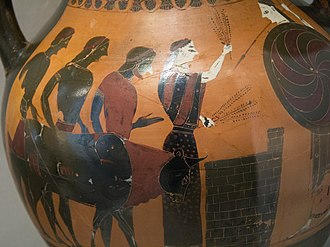 Animal sacrifice - A bull is led to the altar of Athena, whose image is at right.  Vase, c. 545 BC.