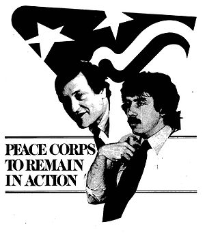 "Sam Brown (activist) - The cover of ""Action Update"" (August 16, 1979) showing Sam Brown (right), the Director of the Action Corps which administered the Peace Corps, Volunteers in Service to America (VISTA) and other service programs. Richard Celeste (left) was appointed Peace Corps director after the resignation of Peace Corps Director Carolyn Payton."