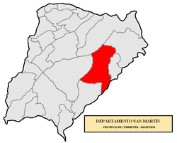 location of San Martín Department in Corrientes Province