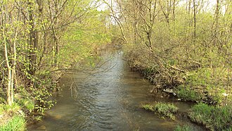 Sandy Creek (Michigan) - Sandy Creek looking west from the North Dixie Highway bridge in Frenchtown Charter Township