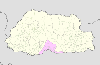 Location of Shompangkha Gewog