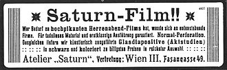 Filmarchiv Austria - Advertisements for Saturn-Film productions, the earliest known Austrian feature films (Filmarchiv collection)