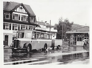 PostBus Switzerland - A PostBus bus in Altstätten in 1984