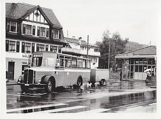 PostBus Switzerland - A PostBus bus in Altstätten in 1984