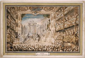 Armide (Lully) - Lully's Armide at the Palais-Royal Opera House in 1761, watercolor by Gabriel de Saint-Aubin
