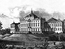 An engraving of the Old Hauptbau as it appeared in 1705.