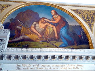 Ywain - Iwein (Yvain) is rescued from madness in a 1851 German fresco at the Schwerin Castle in Mecklenburg