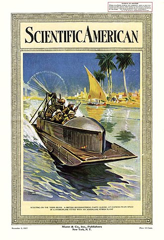 Airboat - A 1917 Scientific American cover depicting a British Army airboat on the Tigris River in Iraq
