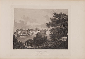 Drummond Castle - Etching of Drummond Castle from James Fittler's Scotia Depicta, published 1804