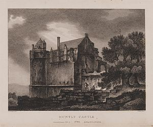 Huntly Castle - Engraving of the castle by James Fittler in Scotia Depicta, published 1804