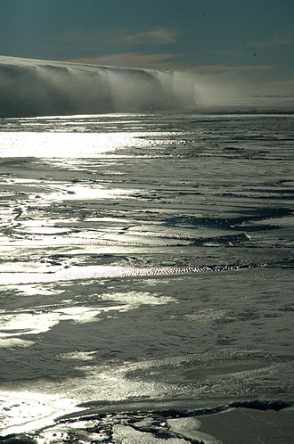 Katabatic wind - Katabatic wind spilling off an ice shelf
