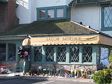 The Salon Meritage, with floral tributes following the shooting.