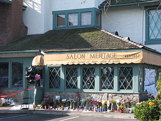 2011 Seal Beach shooting - Salon Meritage, with floral tributes, following the shooting