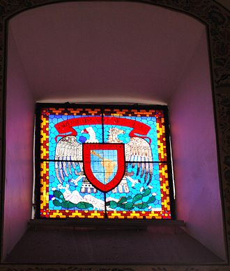 San Pedro y San Pablo College, Mexico City - Stained glass window with seal of former Royal and Pontifical University of Mexico.
